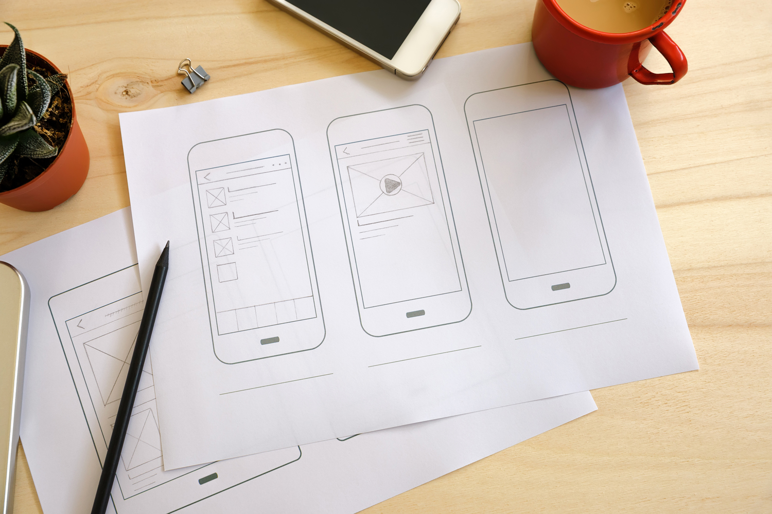 how to create an app - UI wireframe sketches