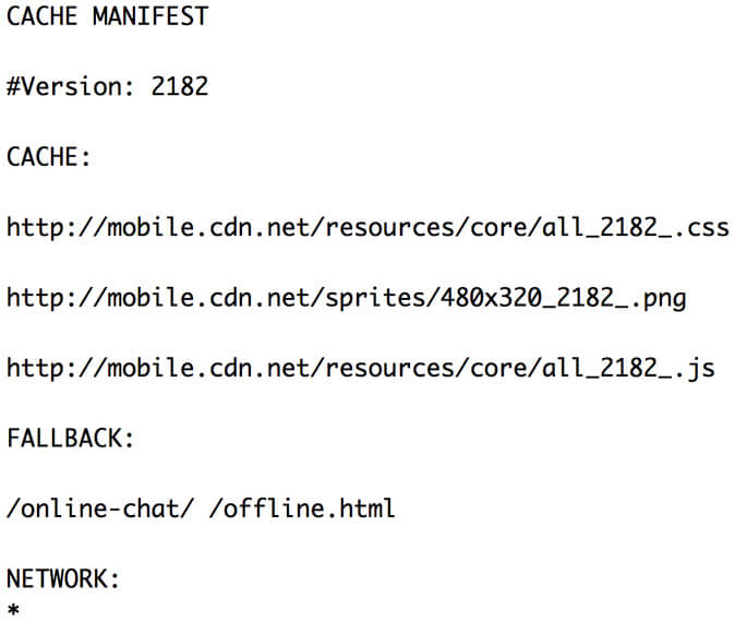 cache manifest screenshot