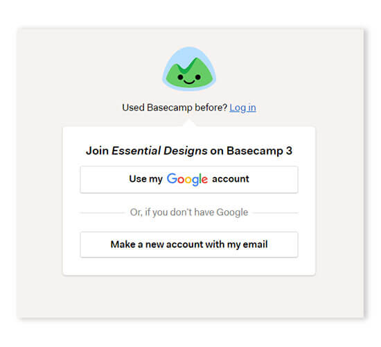logging in to basecamp